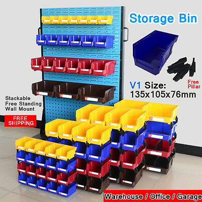 Free-Standing Stackable Storage Bin Organiser box Tool Parts Garage Workshop V1