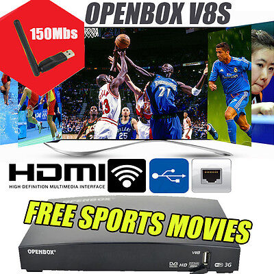 2017 Newest Openbox V8S Internet Satellite Receiver with Free WIFI Dongle UK
