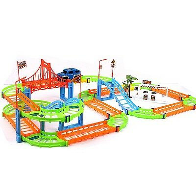 Newly Kids Toys DIY Assembling Slot Car Racing Track Set Family Fun Playset Gift