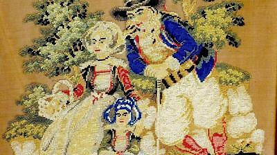 "HANDMADE NEEDLEWORK DUTCH FAMILY PETIT POINT EMBROIDERY 29x25""FRAMED RARITY 1850"