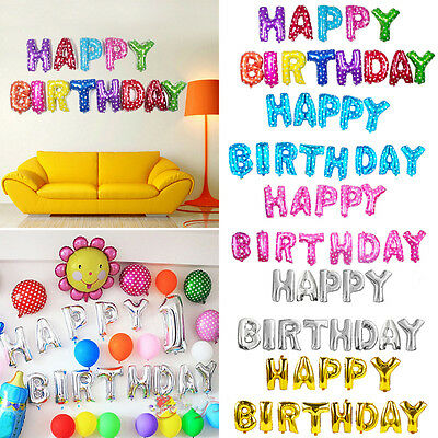"13stk ""HAPPY BIRTHDAY"" 16'' Briefe Folie Ballons Geburtstagsfeier Dekoration"