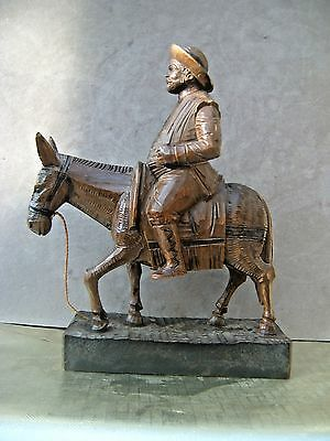 Carved Wooden Figure. Don Quixote ?  As found. Made in Spain.