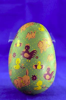 Vintage Tin Litho Metal Easter Egg Candy Container Bunnies Chicks Ducks