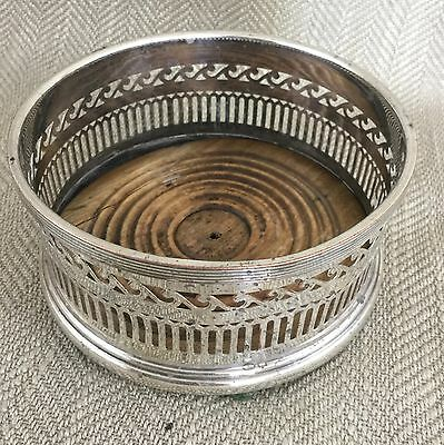 Antique Wine Coaster Wooden Silver Plate Victorian Large Ornate Bottle Stand