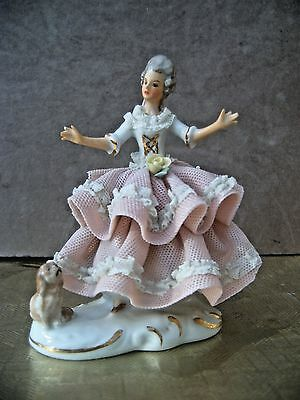 Dresden costumed Figurine with dog