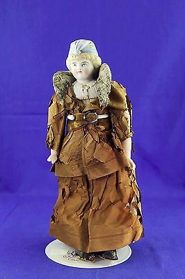 Antique Bisque Head Doll Molded Hat Blonde Hair Cloth Body Antique Clothes Shoes