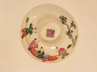 Antique Chinese Mandarin Pattern Cover Dish Red Marks