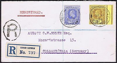 1913 Cayman Islands to Germany 3d and 2 1/2d Registered via London