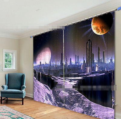 3D Planet City Blockout Photo Curtain Printing Curtains Drapes Fabric Window CA