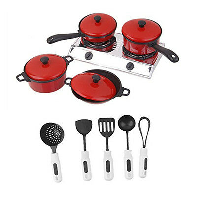 Kids Kitchen Utensil Accessories Cooking Pretend Role Play Toy Cookware Set Gift