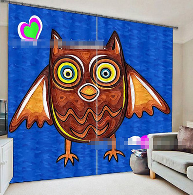 3D Cartoon Owl Blockout Photo Curtain Printing Curtains Drapes Fabric Window CA