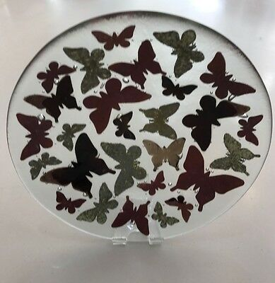 Genuine Jo Downs Bespoke Fused Glass 21cm Butterfly Dish Direct From The Studio