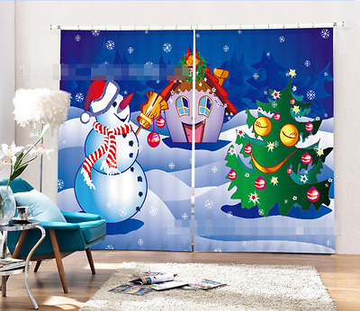 3D Snowman 73 Blockout Photo Curtain Printing Curtains Drapes Fabric Window CA