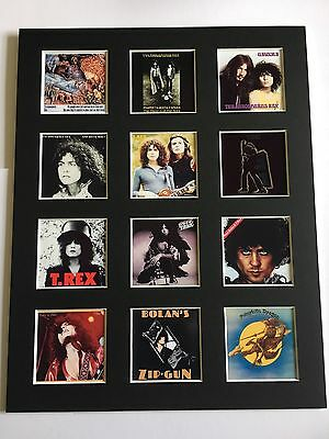 "T-REX MARC BOLAN DISCOGRAPHY PICTURE MOUNTED 14"" By 11"" READY TO FRAME"