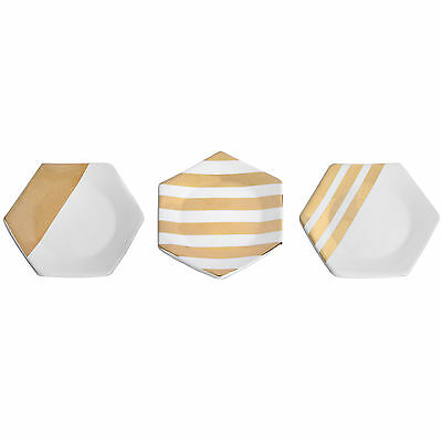 Set Of 3 Hexagonal White And Copper/bronze Ceramic Coasters - Great For Drinks.