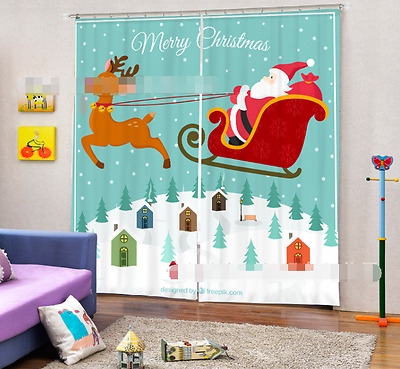 3D Deer Cartoon Blockout Photo Curtain Printing Curtains Drapes Fabric Window CA