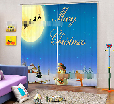 3D Moon Snowman Blockout Photo Curtain Printing Curtains Drapes Fabric Window CA