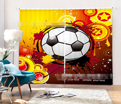 3D Cartoon Ball Blockout Photo Curtain Printing Curtains Drapes Fabric Window CA