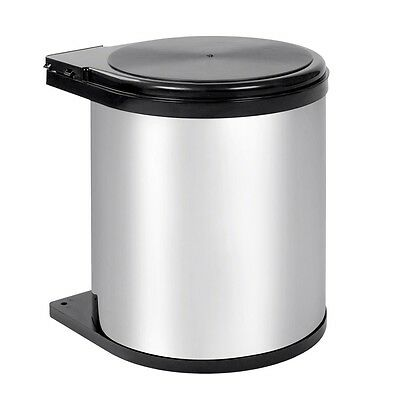 14L Kitchen Swing Pull Out Bin Stainless Steel Garbage Rubbish Waste Trash #T