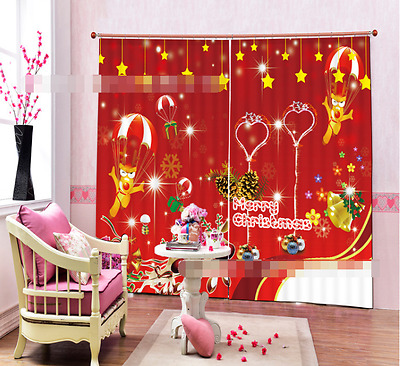 3D Red Cartoon Blockout Photo Curtain Printing Curtains Drapes Fabric Window CA