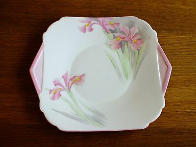 Rare Shelley Art Deco Pink Iris Tab Handled Cake Plate