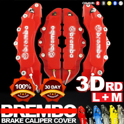 """4x Red 3D Brake Caliper Covers Style Disc Universal Car Front Rear Kits 10.5"""" C1"""