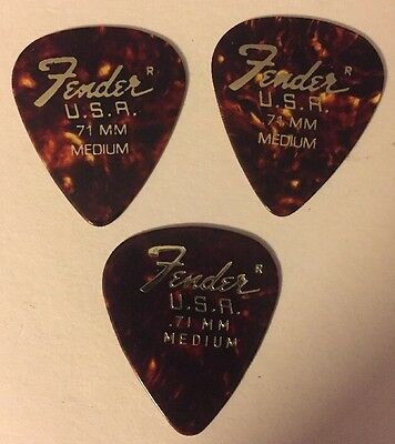 Vintage FENDER USA Guitar Pick Lot (3) .71mm Medium Gauge Gold Embossed #J10 NEW
