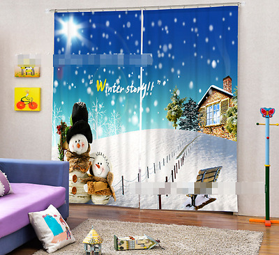 3D Snowman 703 Blockout Photo Curtain Printing Curtains Drapes Fabric Window CA