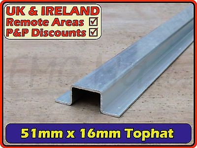 "Aluminium Top Hat (gutter channel section) | 2"" / 51mm x 16mm"