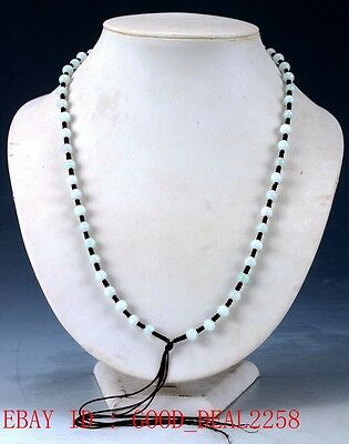 Chinese Beautiful Natural Jade Handwork Beads Necklaces XL039