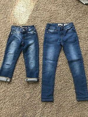 Two Pairs Of Girls Jeans Size 8 (Justice Capris & Indigo Rein Skinny)