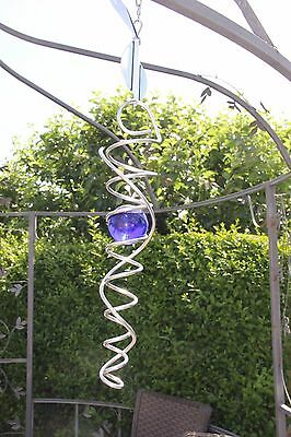 Med Silver Spiral with blue glass ball Wind Spinner garden outdoor mobile