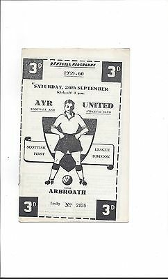 Ayr United v Arbroath 1959-60, Excellent Condition, September 26th