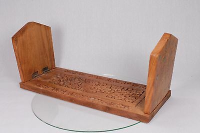 Vintage Wooden Sliding Bookends Carved Wood Leaf Design Expandable Book Shelf