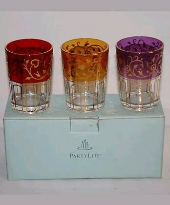 PartyLite P8372 Global Fusion Votive Glass Candle Holder Trio Red Yellow Purple