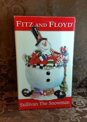 Fitz & Floyd Sullivan the Snowman Cookie Jar New in Box 2006 Retired Holiday