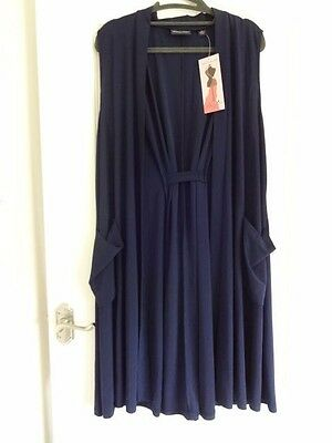 Nina Leonard Longline Waistcoat with Pockets and Gathered Back Navy Large