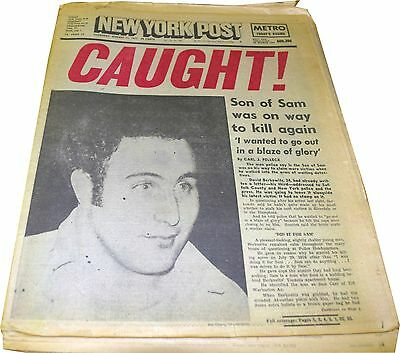 "August 11, 1977 NY Post ""Son of Sam Caught"" Newspaper"