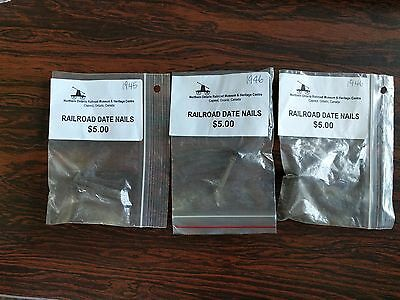 Lot of 3 Railroad Tie Date Nails from Northern Ontario (1945, 1946 x2)