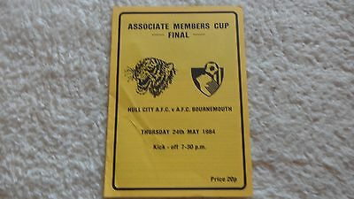 83/84 Hull City V Bournemouth  Members Cup Final