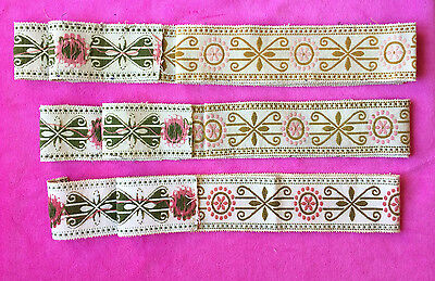 Vintage embroidered Jaquard ribbon tape triming floral pink green 3 pieces x 2in