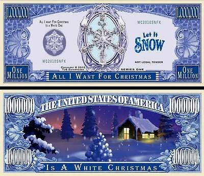 White Christmas Million Dollar Bill Collectible Fake Funny Money Novelty Note