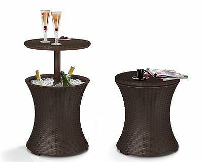 Rattan Cooler Table Outdoor Wicker Furniture Bar Pool Patio Deck Party Ice NEW