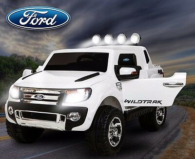 Kids Ride On Ford Ranger Jeep Electric Truck 4X4 R/c Childs 12V- White