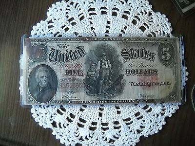 """1907 $5 Five Dollars """"Woodchopper"""" Legal Tender United States Note"""