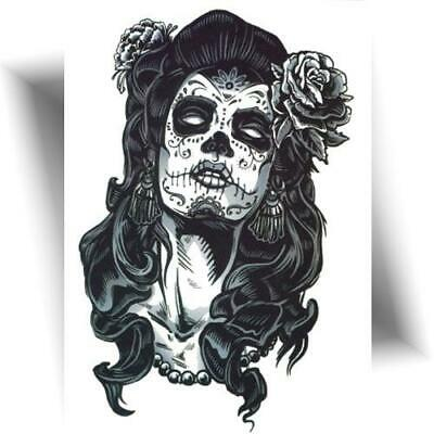 ►GRAND TATOUAGE TEMPORAIRE SUGAR SKULL GIRL  (faux tattoo noir, flash)◄
