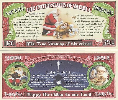 True Meaning of Christmas $25 Dollar Bill Fake Play Funny Money Novelty Note