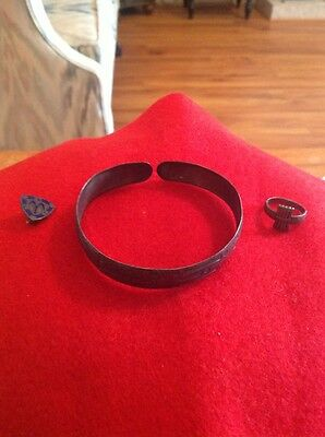 Antique Campfire Girls Silver Bracelet, Ring and Pin