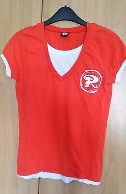 @look! Robbie Williams Tour Shirt - Coral + White - Medium Size Approx 10 To 12