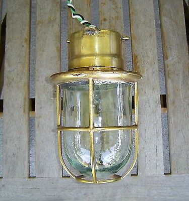 Vintage Brass Nautical Ship's Passageway Marine Ceiling Light - Rewired